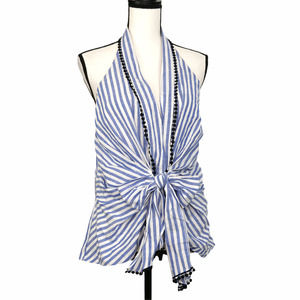 Zara Woman Striped Bow Tie Front Linen Halter Top